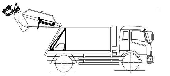 壓縮式垃圾車結構圖及垃圾桶翻轉機構工作平面圖展示